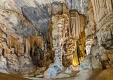 Σταλακτίτες και σταλαγμίτες στην αίθουσα της Μποτά, σπηλιές Cango Στοκ φωτογραφία με δικαίωμα ελεύθερης χρήσης