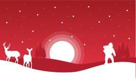 Στα κόκκινα υπόβαθρα Santa και το τοπίο ταράνδων Στοκ Φωτογραφίες