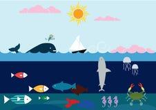 Στα μεγάλα θαλάσσια βάθη Στοκ Εικόνες