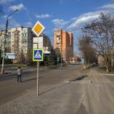 Στα σταυροδρόμια στο κέντρο πόλεων Sloviansk στοκ εικόνες με δικαίωμα ελεύθερης χρήσης