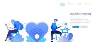Στείλετε στη συνομιλία τα μεγάλα μηνύματα αγάπης από την υπεραστική επικοινωνία ζευγών σχέσης με ένα lap-top υπολογιστών γραφείου απεικόνιση αποθεμάτων