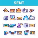 Στείλετε στο μήνυμα τα γραμμικά διανυσματικά λεπτά εικονίδια καθορισμένα ελεύθερη απεικόνιση δικαιώματος