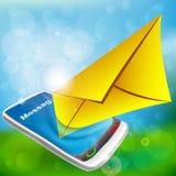 Στείλετε ένα ηλεκτρονικό ταχυδρομείο τηλεφωνικώς ελεύθερη απεικόνιση δικαιώματος