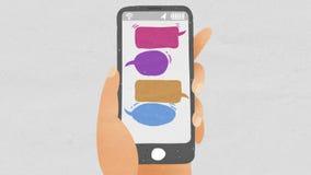 Στείλετε το φραγμό μηνυμάτων φυσαλίδων χρησιμοποιώντας το έξυπνο τηλέφωνο ύφος απεικόνισης σχεδίων απεικόνιση αποθεμάτων