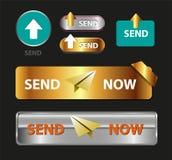 Στείλετε τώρα το κουμπί, η συλλογή στέλνει τώρα το εικονίδιο Στοκ Εικόνες