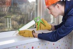 Στεγανωτική ουσία και παράθυρα σιλικόνης στοκ εικόνες