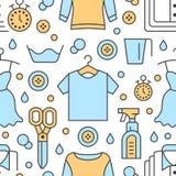 Στεγνός καθαρισμός, άνευ ραφής σχέδιο μπλε πλυντηρίων με τα εικονίδια γραμμών Laundromat εξοπλισμός υπηρεσιών, επισκευή ενδυμασία ελεύθερη απεικόνιση δικαιώματος