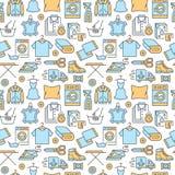 Στεγνός καθαρισμός, άνευ ραφής σχέδιο μπλε πλυντηρίων με τα εικονίδια γραμμών Laundromat εξοπλισμός υπηρεσιών, πλυντήριο, ενδυμασ απεικόνιση αποθεμάτων