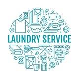 Στεγνός καθαρισμός, απεικόνιση εμβλημάτων με τα επίπεδα εικονίδια γραμμών Εξοπλισμός υπηρεσιών πλυντηρίων, πλυντήριο, ντύνοντας π διανυσματική απεικόνιση