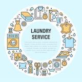 Στεγνός καθαρισμός, απεικόνιση εμβλημάτων με τα μπλε επίπεδα εικονίδια γραμμών Εξοπλισμός υπηρεσιών πλυντηρίων, δέρμα ιματισμού π ελεύθερη απεικόνιση δικαιώματος