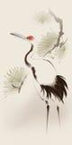 στεμμένος γερανός Ασιάτης που χρωματίζει το κόκκινο ύφος ελεύθερη απεικόνιση δικαιώματος