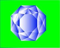 Στεμμένο μπλε κρύσταλλο χρώματος σε ένα πράσινο υπόβαθρο διανυσματική απεικόνιση