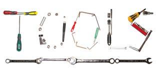 στενά παλαιά σκουριασμένα γρατσουνισμένα εργαλεία χεριών επάνω Στοκ Φωτογραφία