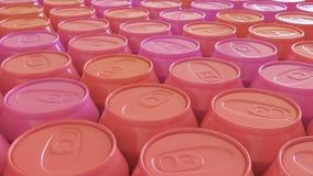 Στενά συσκευασμένα πλαστικά δοχεία σόδας στα χρώματα του κοκκίνου απεικόνιση αποθεμάτων