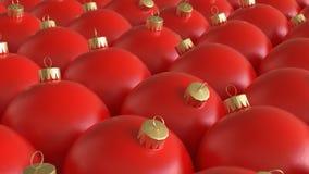 Στενά συσκευασμένη σειρά κόκκινων διακοσμήσεων Χριστουγέννων Στοκ Φωτογραφία