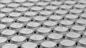 Στενά συσκευασμένη σειρά δοχείων αργιλίου Στοκ Εικόνες