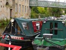 Στενές βάρκες καναλιών στον εορτασμό 200 ετών του καναλιού του Λιντς Λίβερπουλ σε Burnley Lancashire Στοκ φωτογραφίες με δικαίωμα ελεύθερης χρήσης