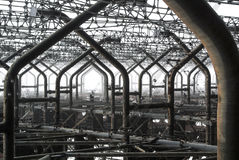 Στενές επάνω λεπτομέρειες μετάλλων του εγκαταλειμμένου ρωσικού δρυοκολάπτη ραντάρ Duga στη ζώνη αποκλεισμού του Τσέρνομπιλ της υψ στοκ εικόνα με δικαίωμα ελεύθερης χρήσης