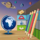 στενές σχολικές προμήθειες μοιρογνωμόνιων πυξίδων επάνω επίσης corel σύρετε το διάνυσμα απεικόνισης απεικόνιση αποθεμάτων