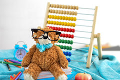 στενές σχολικές προμήθειες μοιρογνωμόνιων πυξίδων επάνω Το Teddy αντέχει με τα γυαλιά Στοκ Φωτογραφίες