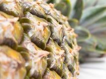 Στενή άποψη της φλούδας του ανανά με το φυτοφάρμακο στοκ φωτογραφίες