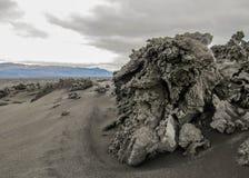 Στενή άποψη του σχηματισμού λάβας στον τομέα λάβας Holuhraun, Χάιλαντς της Ισλανδίας, Ευρώπη στοκ φωτογραφίες