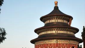 Στενή επάνω άποψη ηλιοβασιλέματος του ναού του ουρανού, Πεκίνο απόθεμα βίντεο