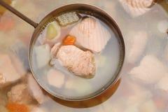 στενή καλυμμένη ψάρια σούπα επάνω Στοκ Εικόνες