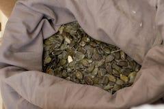 στενοί σπόροι κολοκύθας τροφίμων ανασκόπησης επάνω Οργανικοί ακατέργαστοι ξεφλουδισμένοι σπόροι κολοκύθας σε έναν γκρίζο σάκο Στοκ Εικόνα