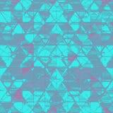 Στενοχωρημένη αφηρημένη τυπωμένη ύλη τριγώνων στο τονικό τυρκουάζ με τις εμφάσεις της πορφύρας διανυσματική απεικόνιση