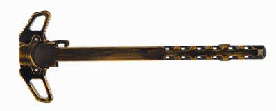 Στενοχωρημένη μαύρη και χρυσή AR15 λαβή χρέωσης Στοκ εικόνα με δικαίωμα ελεύθερης χρήσης
