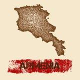 Στενοχωρημένος η Αρμενία χάρτης απεικόνιση αποθεμάτων