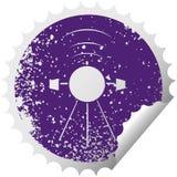 στενοχωρημένος κυκλικός δορυφόρος συμβόλων αυτοκόλλητων ετικεττών αποφλοίωσης ελεύθερη απεικόνιση δικαιώματος