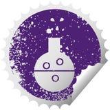 στενοχωρημένος κυκλικός σωλήνας χημείας συμβόλων αυτοκόλλητων ετικεττών αποφλοίωσης ελεύθερη απεικόνιση δικαιώματος