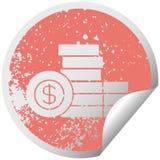 στενοχωρημένος κυκλικός σωρός συμβόλων αυτοκόλλητων ετικεττών αποφλοίωσης των χρημάτων διανυσματική απεικόνιση