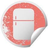 στενοχωρημένος κυκλικός ψυκτήρας ψυγείων συμβόλων αυτοκόλλητων ετικεττών αποφλοίωσης διανυσματική απεικόνιση