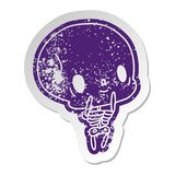 στενοχωρημένος παλαιός χαριτωμένος νεκρός σκελετός kawaii αυτοκόλλητων ετικεττών ελεύθερη απεικόνιση δικαιώματος