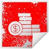 στενοχωρημένος τετραγωνικός σωρός συμβόλων αυτοκόλλητων ετικεττών αποφλοίωσης των χρημάτων διανυσματική απεικόνιση