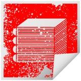 στενοχωρημένος τετραγωνικός σωρός συμβόλων αυτοκόλλητων ετικεττών αποφλοίωσης των βιβλίων απεικόνιση αποθεμάτων