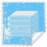 στενοχωρημένος τετραγωνικός σωρός συμβόλων αυτοκόλλητων ετικεττών αποφλοίωσης των βιβλίων ελεύθερη απεικόνιση δικαιώματος