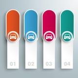 Στενόμακρα στρογγυλά χρωματισμένα εμβλήματα αυτοκίνητα κύκλων Διανυσματική απεικόνιση