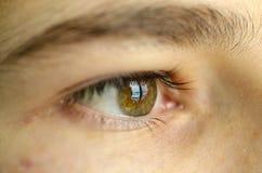 στενός άνθρωπος ματιών επάν&om βολβός του ματιού και μαθητής Στοκ Φωτογραφία