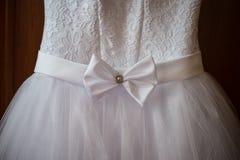 Στενός ένας επάνω ενός γαμήλιου φορέματος Στοκ Φωτογραφία