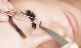 Στενός επάνω διαδικασίας αφαίρεσης Eyelash Όμορφη γυναίκα με τα μακροχρόνια μαστίγια σε ένα σαλόνι ομορφιάς στοκ εικόνες