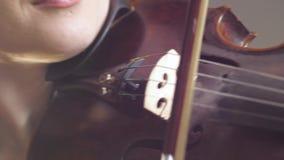 Στενός επάνω εργαλείων Stringed μουσικός, παιχνίδια κοριτσιών βιολιστών στο ξύλινο βιολί στο στούντιο φιλμ μικρού μήκους