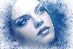 Στενός επάνω προσώπου χιόνι-βασίλισσας Στοκ Φωτογραφίες