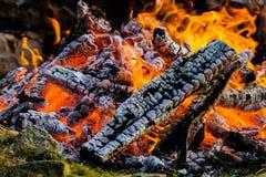 Στενός επάνω φωτιών των καίγοντας κούτσουρων περιέβαλε τους βράχους μου Στοκ Εικόνα
