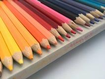 Στενός επάνω Defocused στις άκρες μολυβιών στο ανοικτό κιβώτιο Στοκ Εικόνα