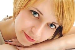 στενός χαμογελώντας σπουδαστής πορτρέτου κοριτσιών επάνω Στοκ Φωτογραφία