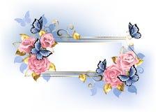 Στενό έμβλημα με τα ρόδινα τριαντάφυλλα ελεύθερη απεικόνιση δικαιώματος
